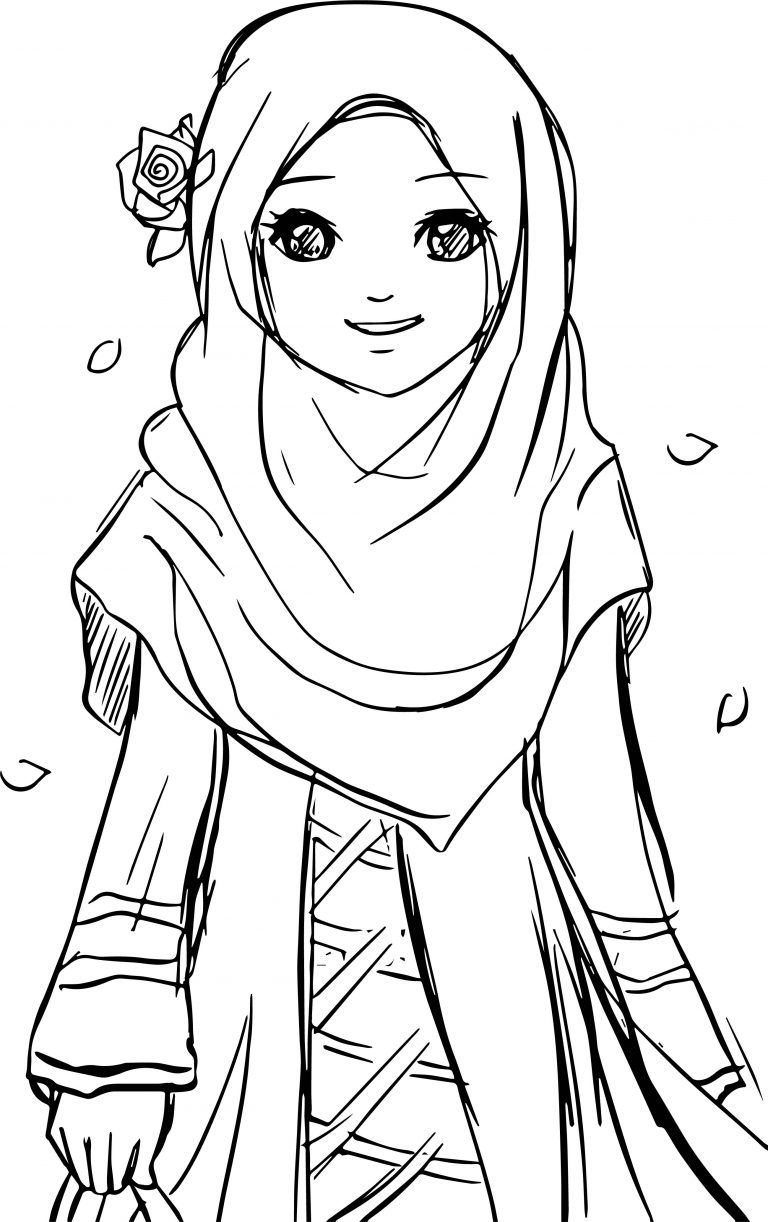 picture of a girl to color islamic muslim wears hijab girl coloring pages halaman a picture girl to color of