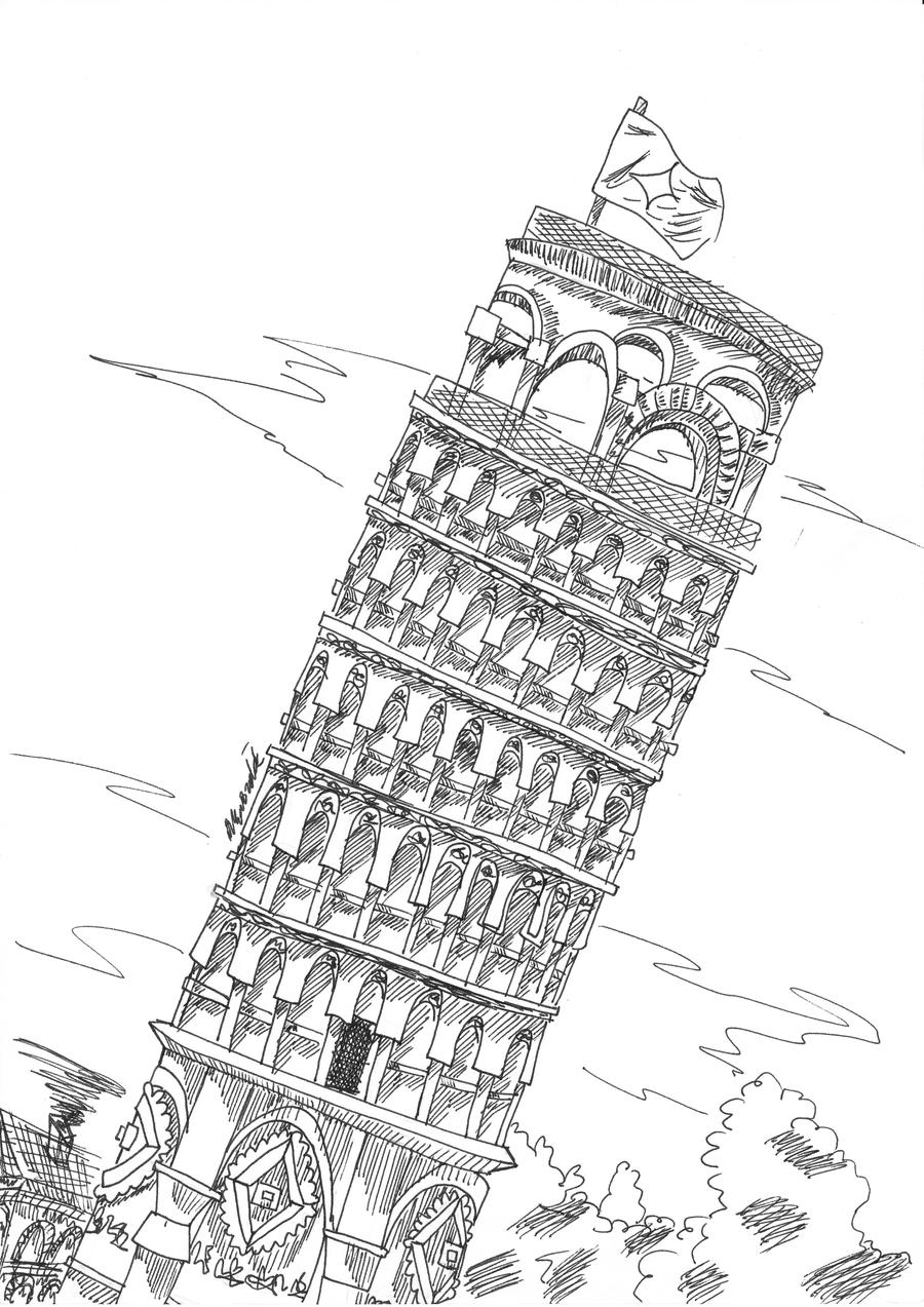 pisa tower drawing leaning tower of pisa a5a4 detailed hand drawn pisa drawing tower