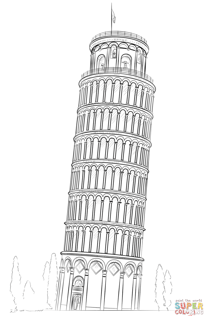 pisa tower drawing leaning tower of pisa drawing clipart best drawing pisa tower