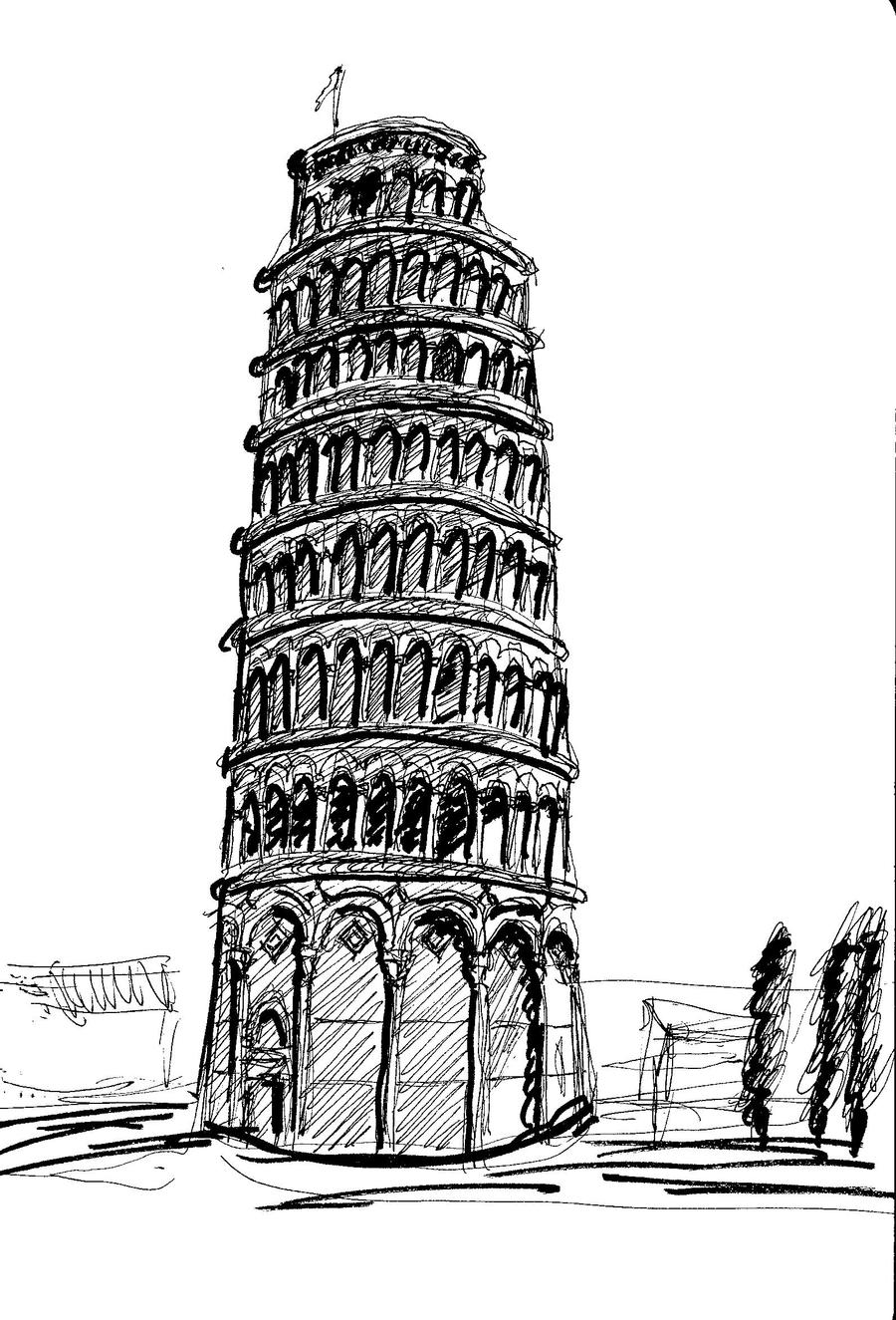 pisa tower drawing leaning tower pisa drawing sketch coloring page tower pisa drawing