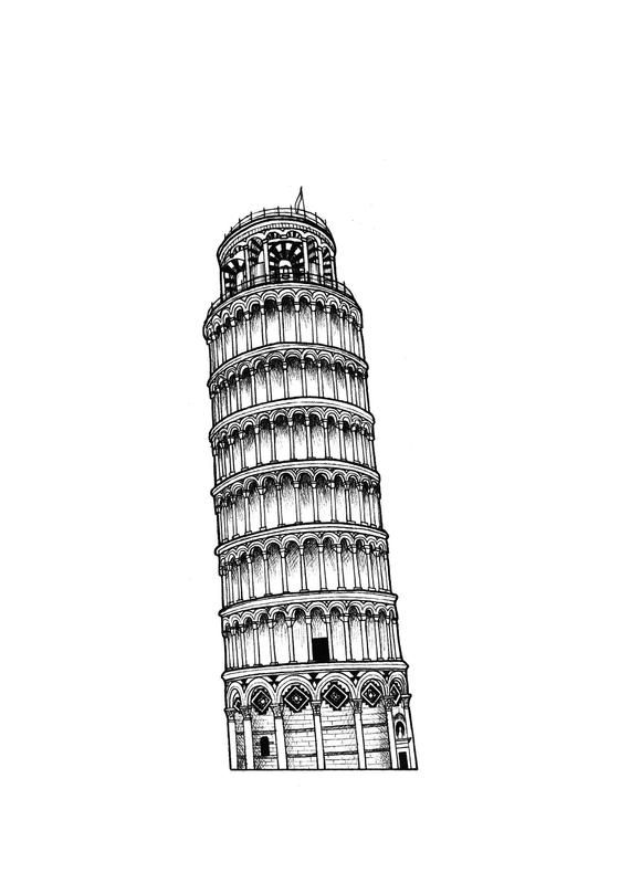 pisa tower drawing the leaning tower of pisa art print click on the image to tower drawing pisa