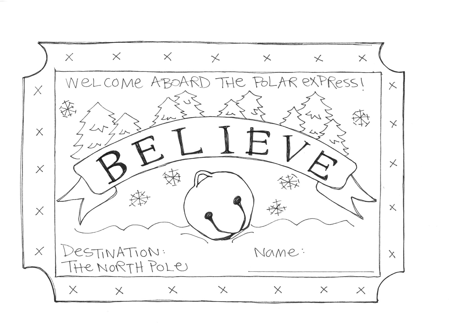 polar express train coloring pages ticket coloring pages train express polar coloring pages