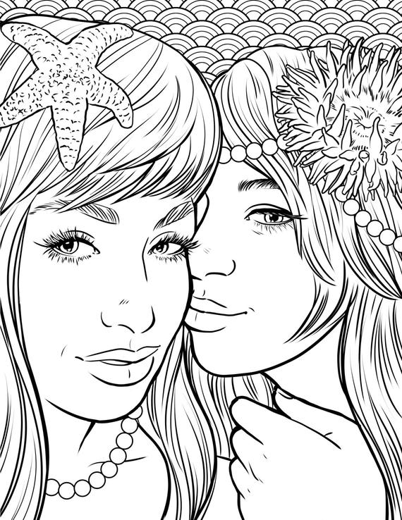 pretty coloring pictures items similar to pretty mermaids makeup coloring page pictures pretty coloring