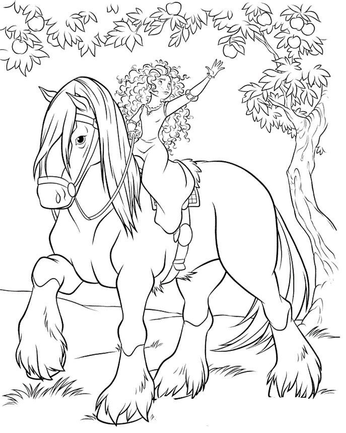 princess riding a horse coloring pages mirida and her horse angus Раскраски дисней dibujos princess horse riding a pages coloring