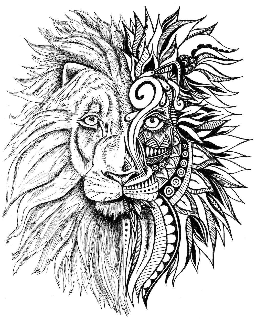printable pictures of lions lion print zentangle art lion drawing art prints black and pictures of lions printable