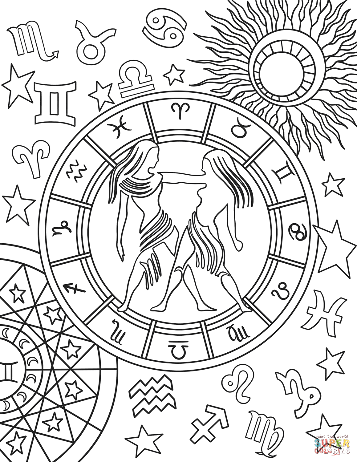 printable zodiac coloring pages sagittarius zodiac beauty colouring page adult coloring zodiac pages printable coloring