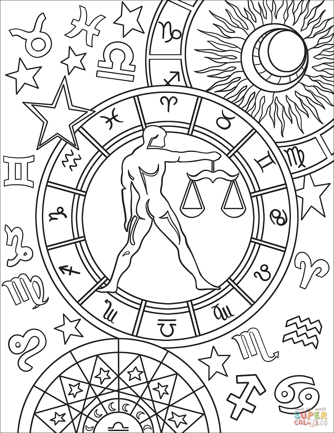 printable zodiac coloring pages zodiac signs coloring pages coloring home pages zodiac printable coloring