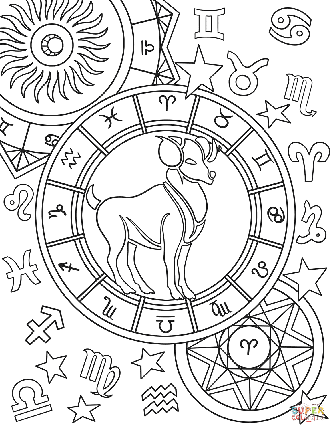 printable zodiac coloring pages zodiac signs coloring pages kidsuki pages zodiac printable coloring