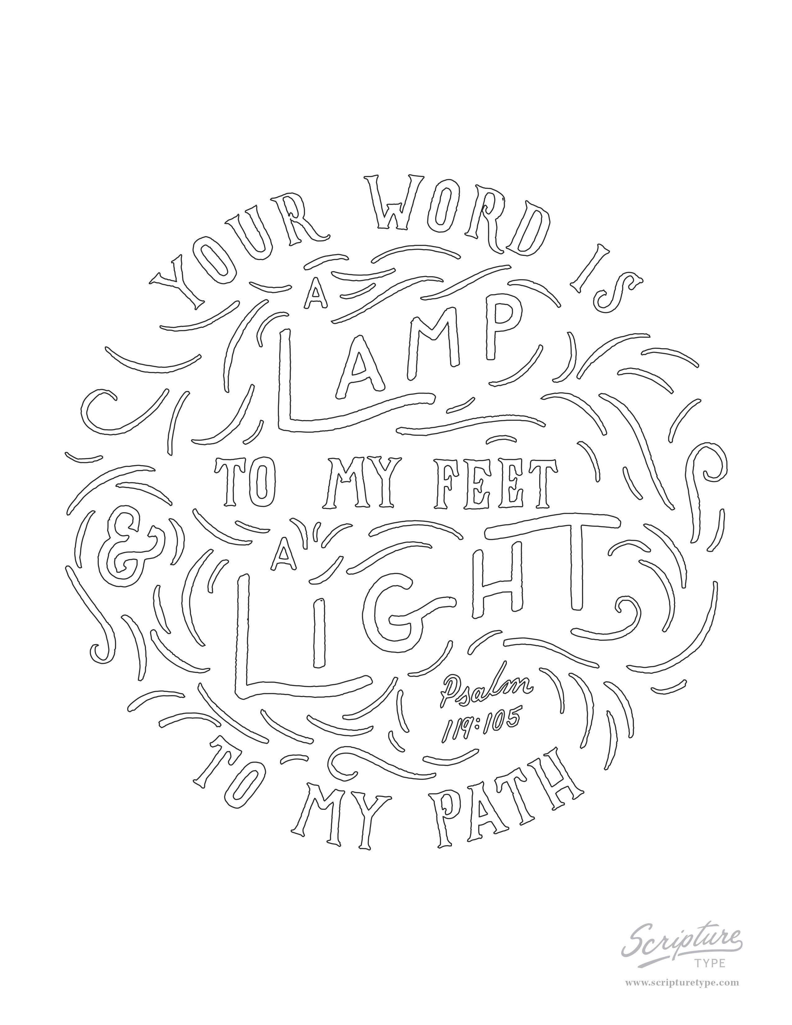 Psalms 119 105 coloring page