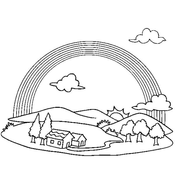 rainbow house coloring pages 為孩子們的著色頁 cloud rainbow and house free coloring pages pages rainbow coloring house
