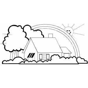 Rainbow house coloring pages