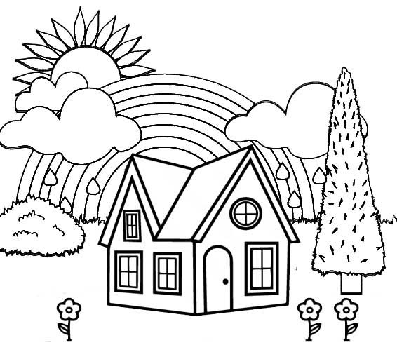 rainbow house coloring pages house and rainbow coloring pages bubakidscom house rainbow pages coloring