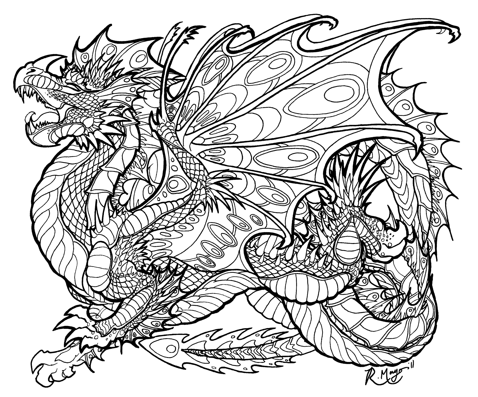 Realistic hard dragon coloring pages