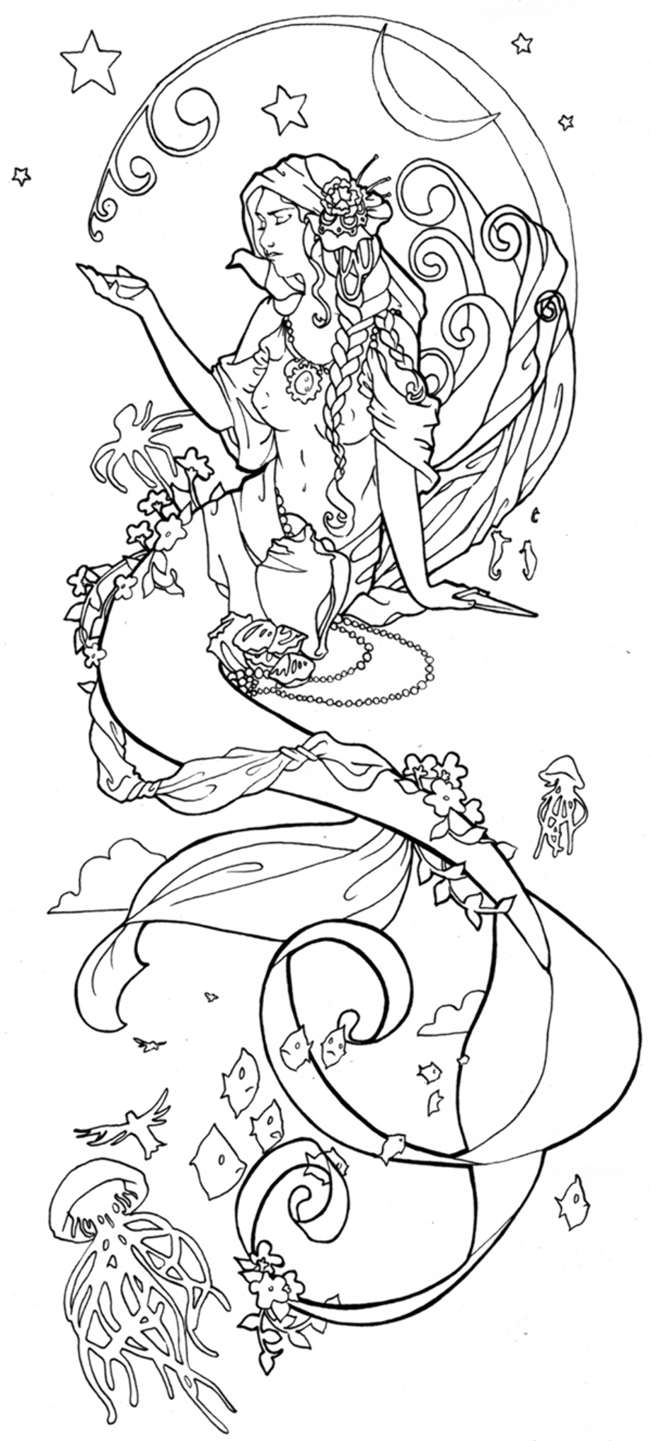 realistic hard mermaid coloring pages fantasy coloring pages for adults wishes in the wind by mermaid pages coloring hard realistic