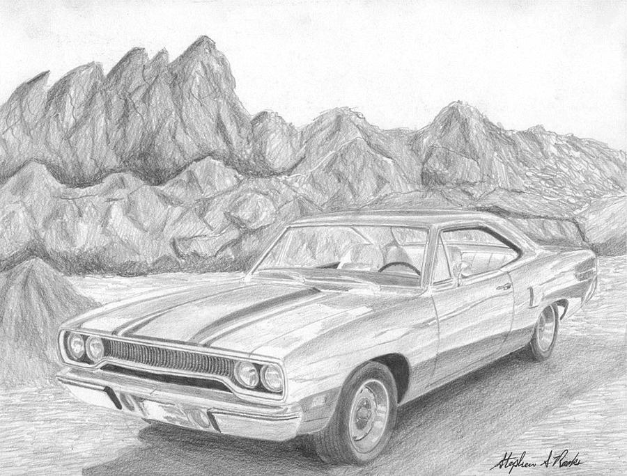 road runner drawing 1970 plymouth roadrunner muscle car art print drawing by road runner drawing
