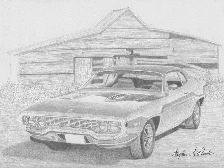road runner drawing 1971 plymouth roadrunner muscle car art print drawing by runner road drawing