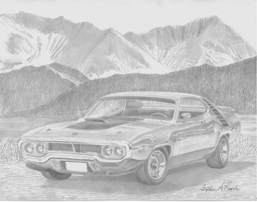 road runner drawing 1972 plymouth roadrunner muscle car art print drawing by road drawing runner