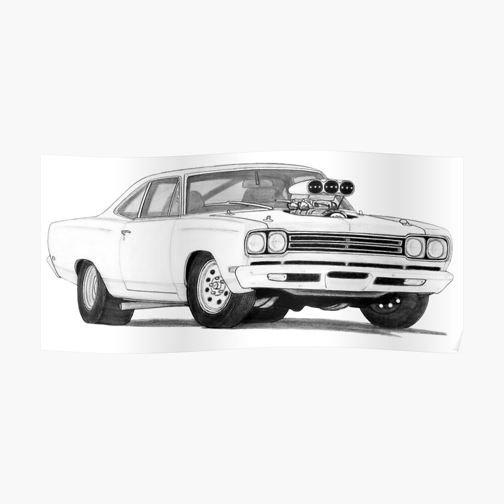 road runner drawing quot1969 plymouth road runner drawingquot poster by itsmeruva runner road drawing