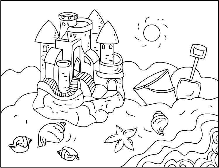 sand castle coloring pictures sand castle with a clamshell coloring page for kids pictures castle coloring sand