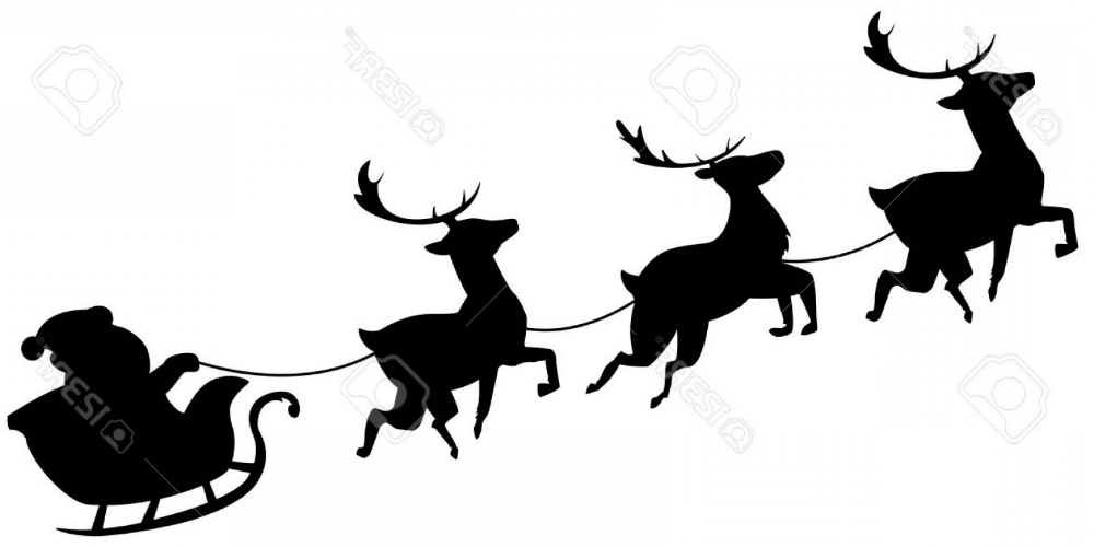 santa and reindeer silhouette photostock vector santa claus flying in sleigh with reindeer silhouette and santa
