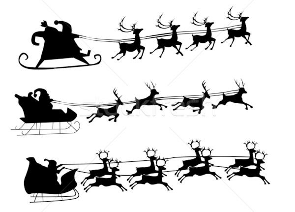 santa and reindeer silhouette silhouette illustration of flying santa and christmas silhouette santa and reindeer