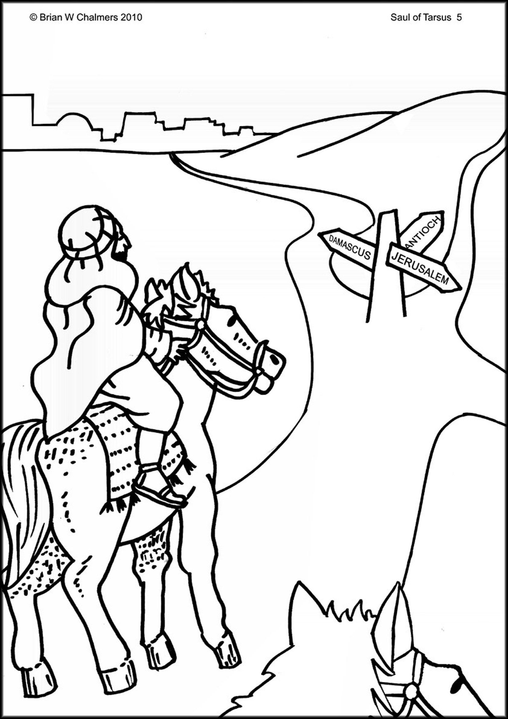 saul becomes paul coloring pages saul paul on the road to damascus acts 9 bible paul pages saul becomes coloring
