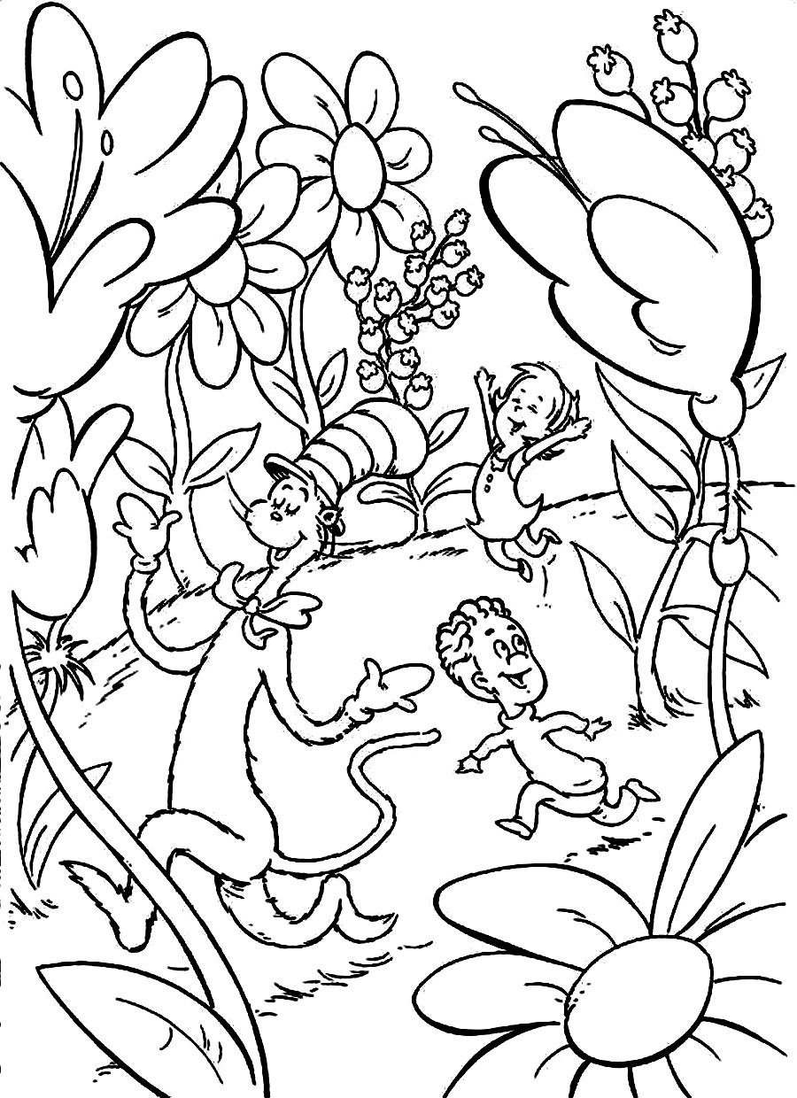 seuss coloring pages the Сat in the hat and promenade coloring pages for kids seuss coloring pages