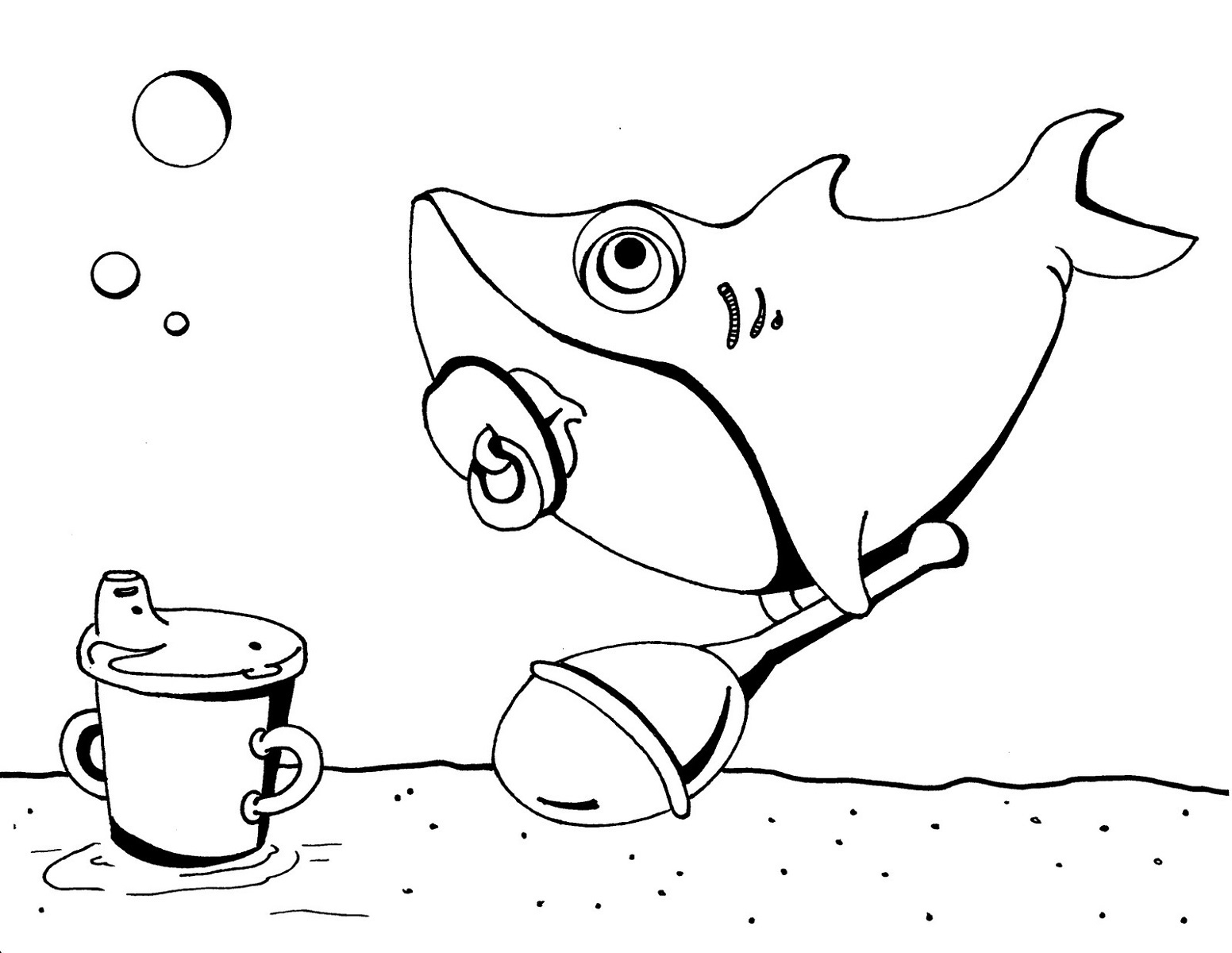 sharks to color this funny shark is getting laugh coloring page kids color to sharks