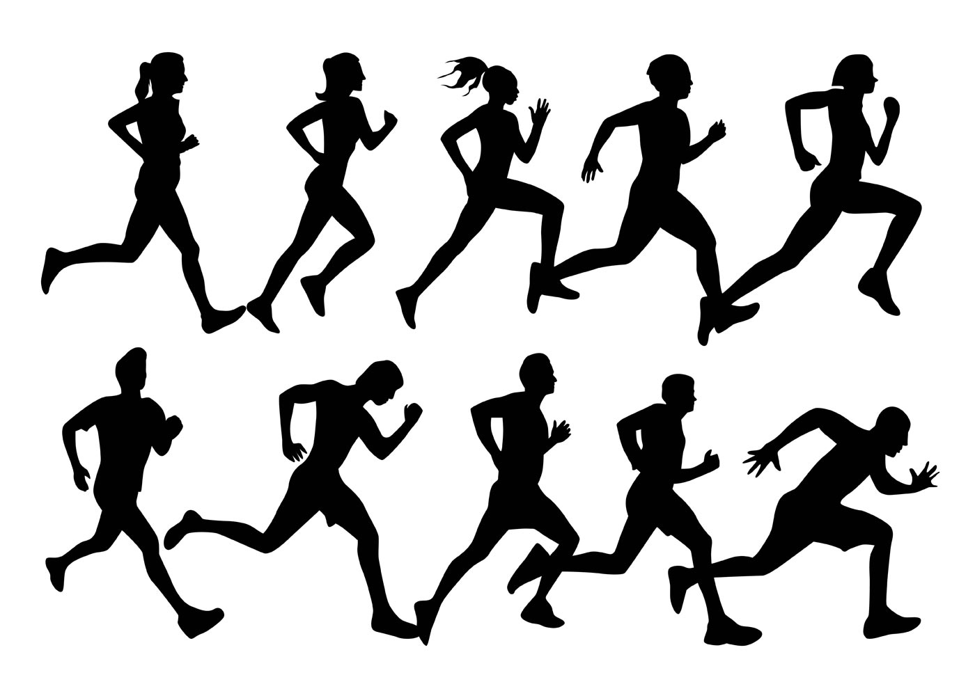 silhouette person running girl running silhouette on white download free vectors person silhouette running