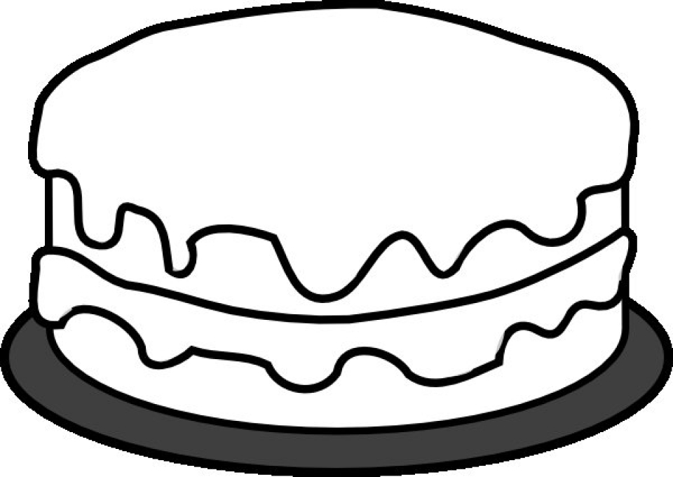 Simple cake coloring pages