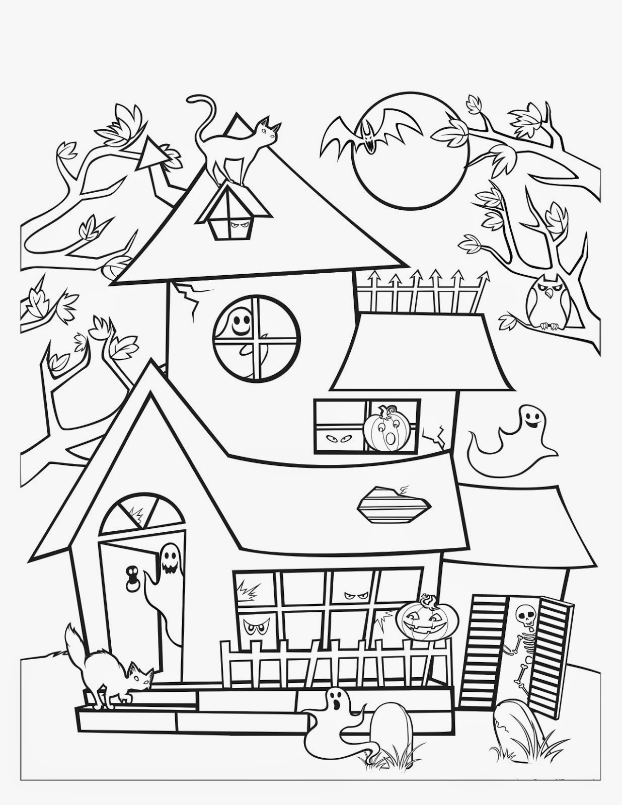 simple haunted house coloring pages easy haunted house drawing at getdrawings free download simple haunted pages house coloring