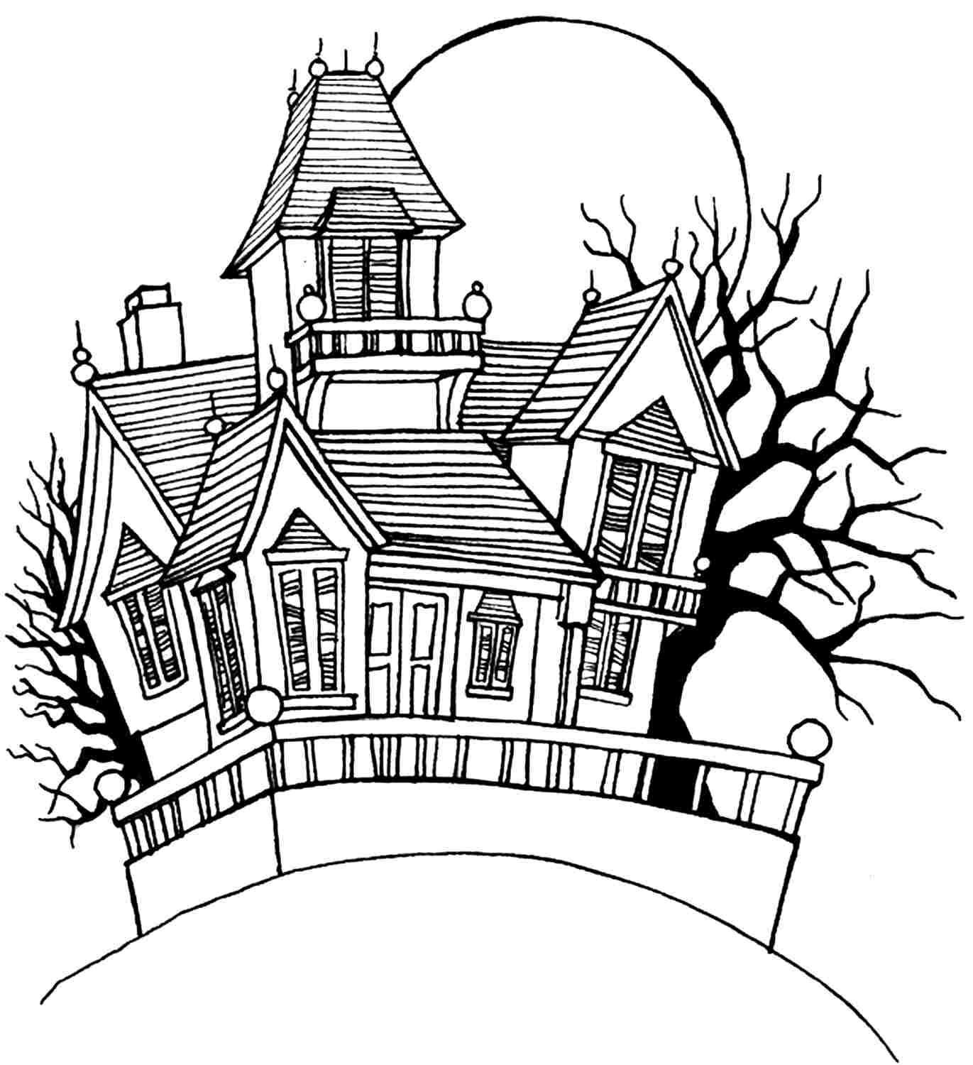 simple haunted house coloring pages houses for kids drawing at getdrawings free download house coloring pages simple haunted