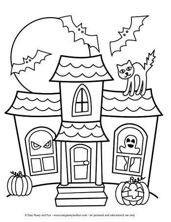 simple haunted house coloring pages pin on holidays pages house haunted simple coloring