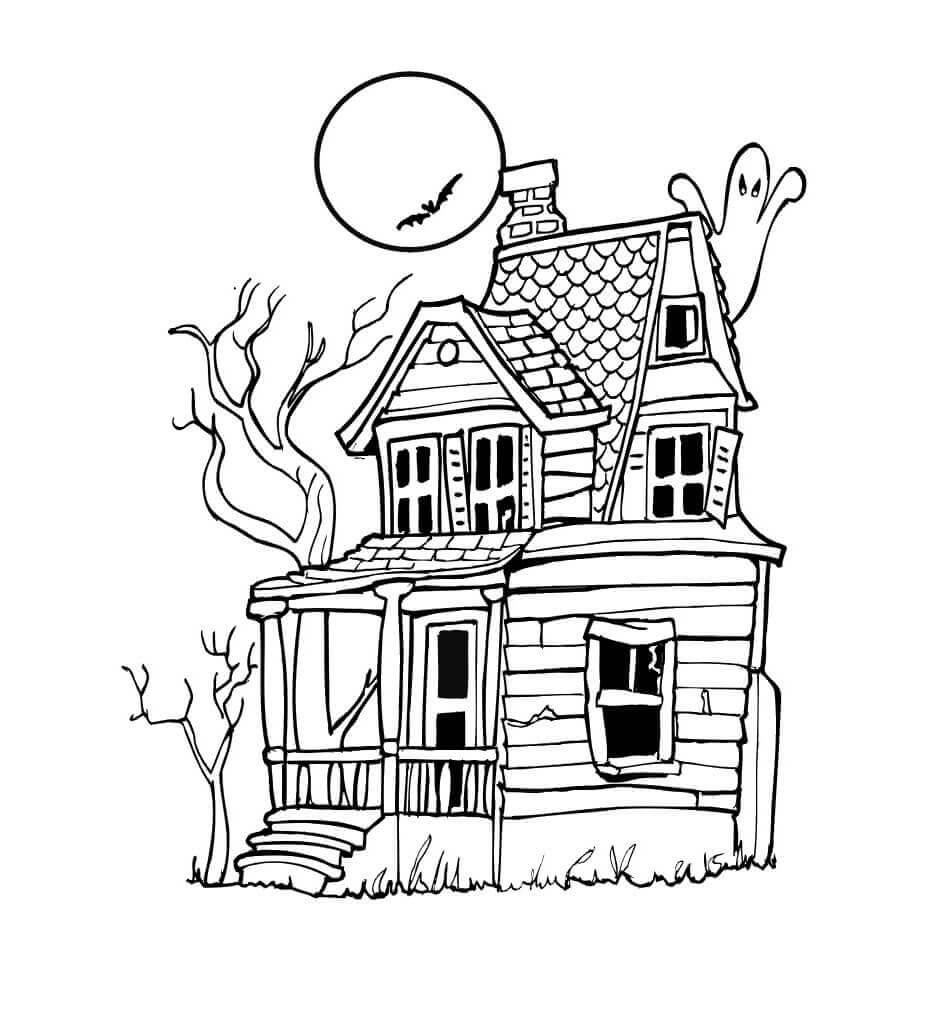 Simple haunted house coloring pages