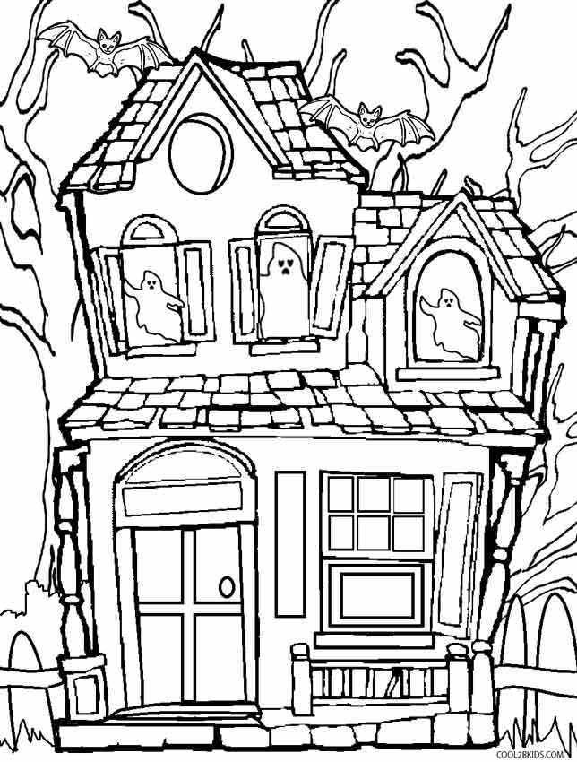 simple haunted house coloring pages printable haunted house coloring pages for kids cool2bkids simple coloring house haunted pages