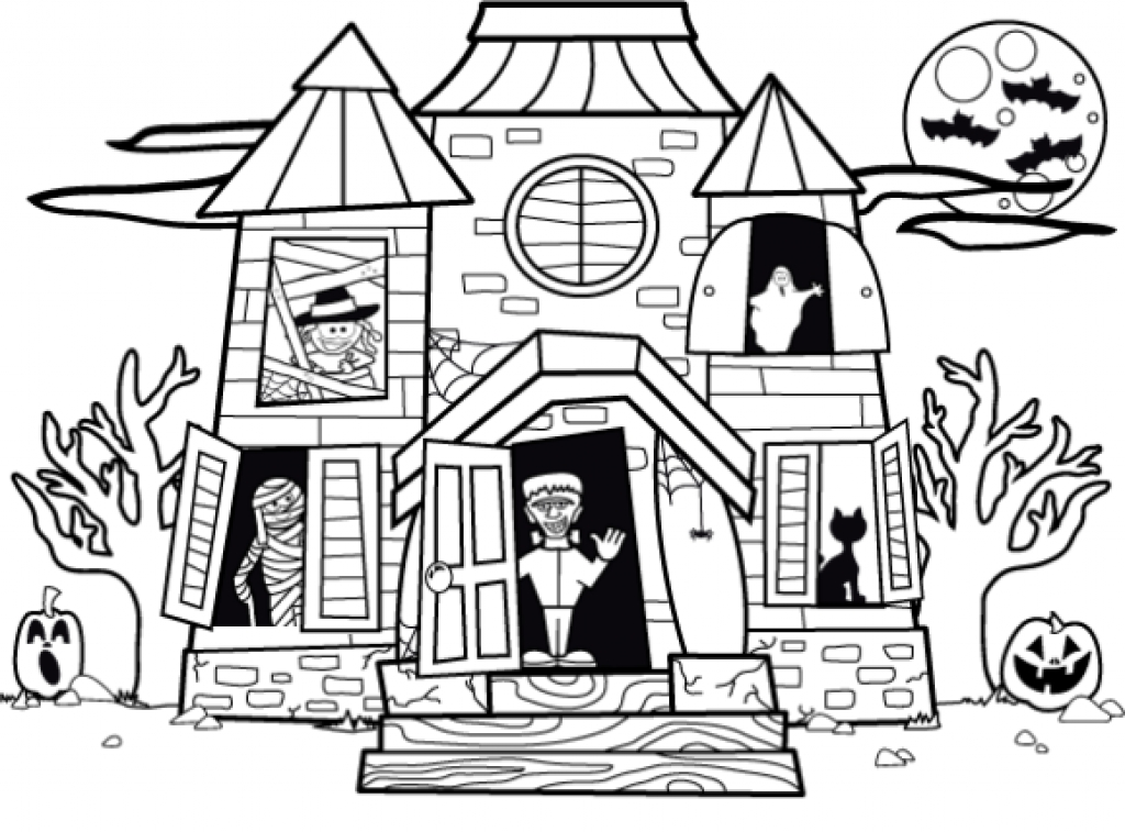 simple haunted house coloring pages printable haunted house coloring pages in 2020 halloween pages simple coloring haunted house