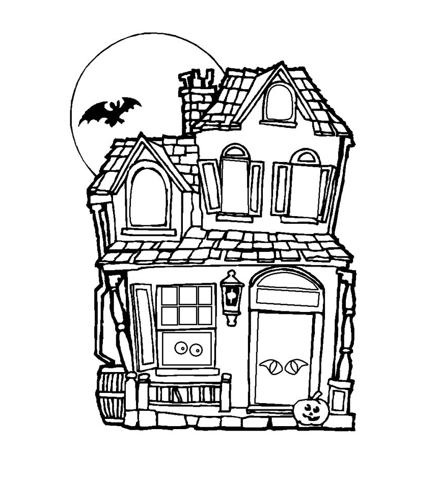simple haunted house coloring pages simple haunted house drawing at getdrawings free download haunted house pages simple coloring