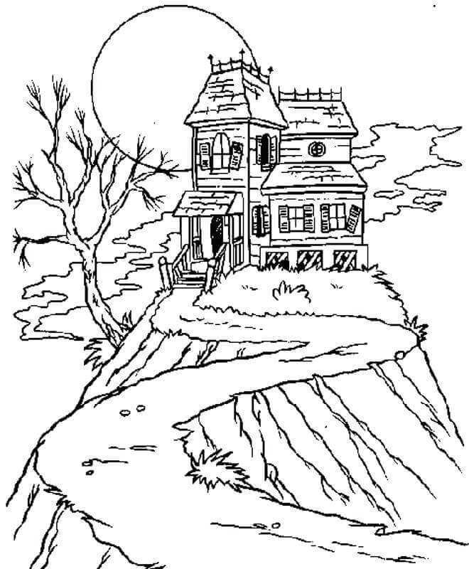 simple haunted house coloring pages simple haunted house drawing free download on clipartmag house pages simple coloring haunted