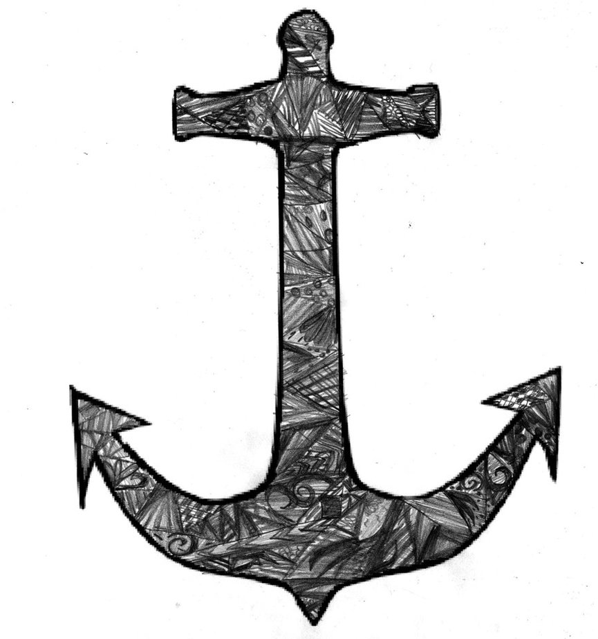 sketch of an anchor hand drawn sketch of ship anchor with rope vector sketch of an anchor