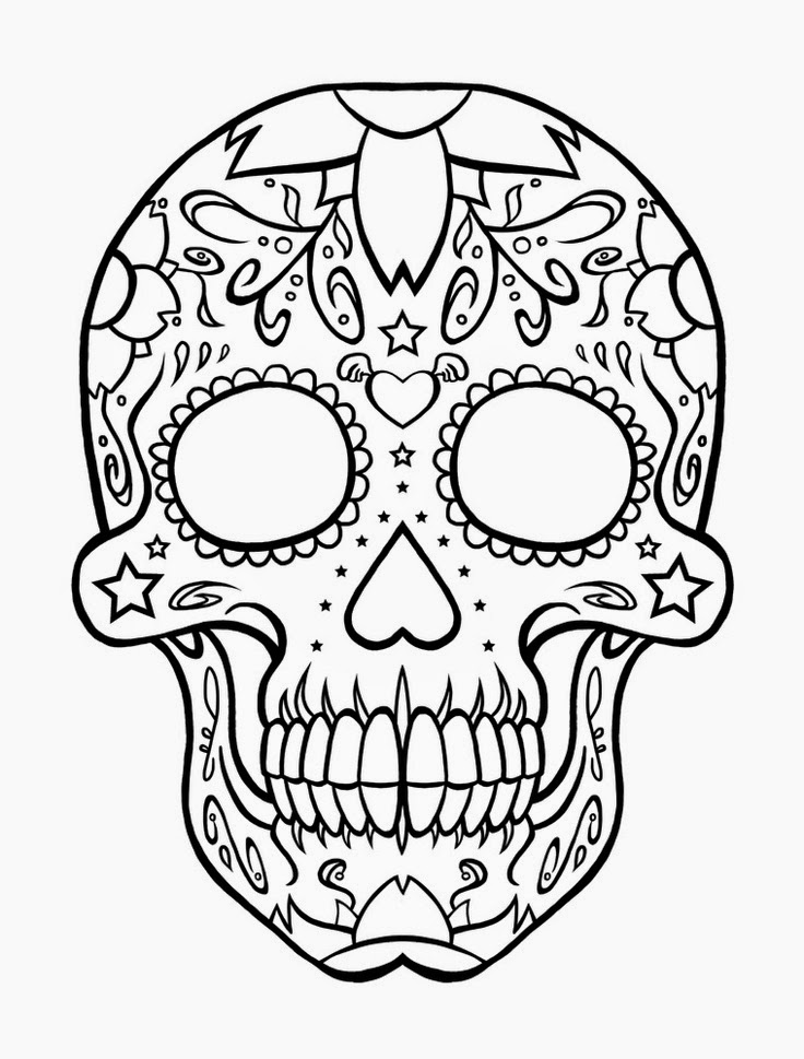 skull color sugar skull with crown coloring page free printable skull color