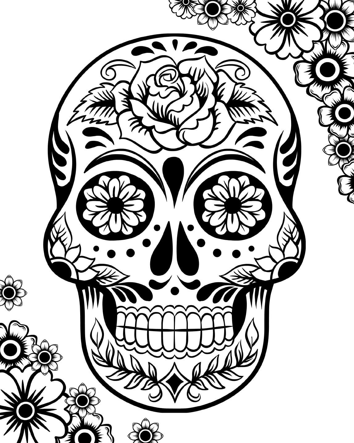 skull colouring pictures mexican sugar skull coloring pages at getdrawings free colouring skull pictures