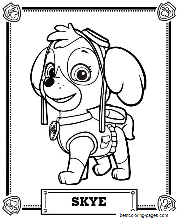 skye paw patrol the best free skye coloring page images download from 176 skye patrol paw
