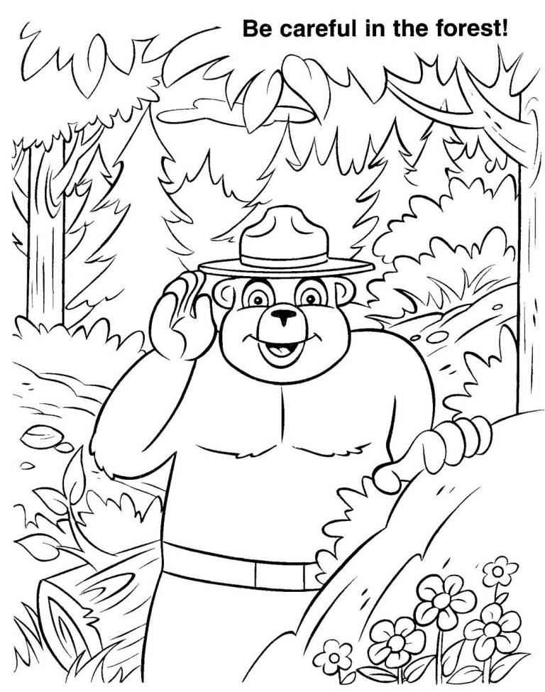smokey the bear coloring pages virginia wildfire information and prevention smokey week the smokey pages coloring bear