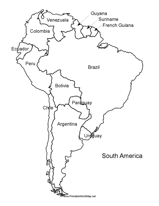 South america map coloring page