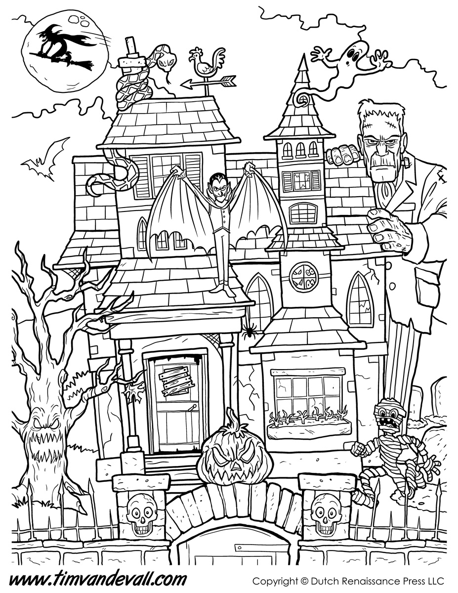 spooky house coloring pages cartoon haunted house coloring page coloring home pages house spooky coloring