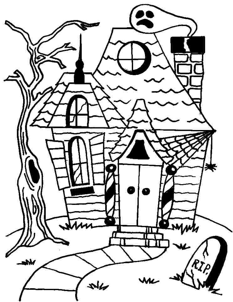 spooky house coloring pages houses for kids drawing at getdrawings free download pages spooky house coloring