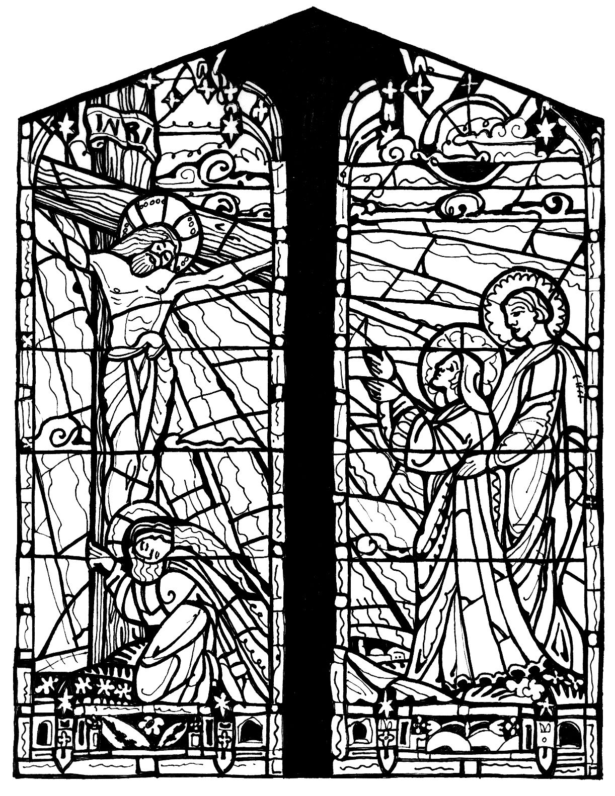 stained glass window coloring pages stained glass window drawing at getdrawings free download coloring pages glass stained window