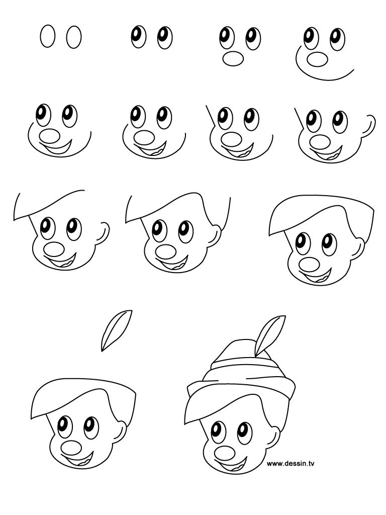Step by step drawing disney characters