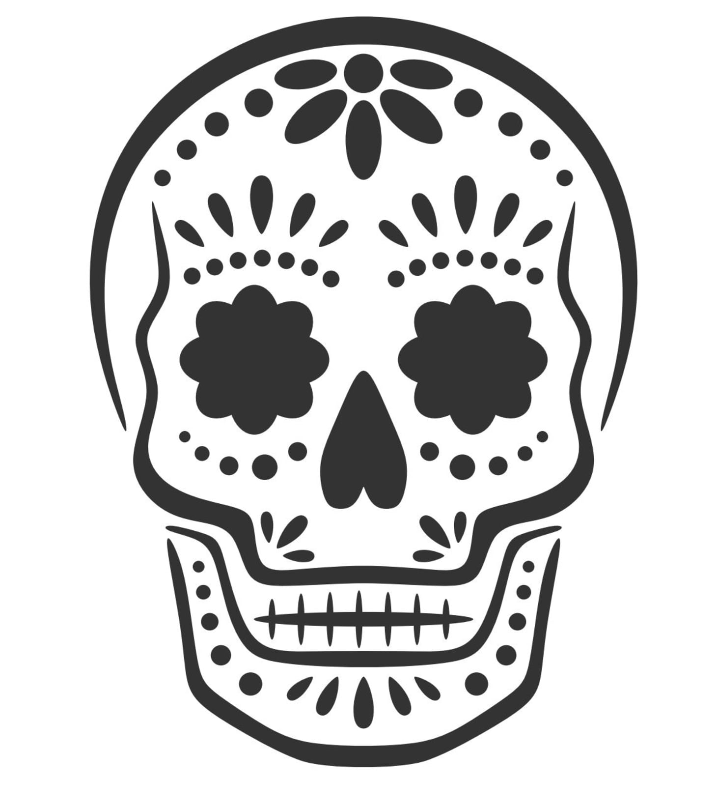 sugar skull template sugar skull drawing template free download on clipartmag sugar skull template