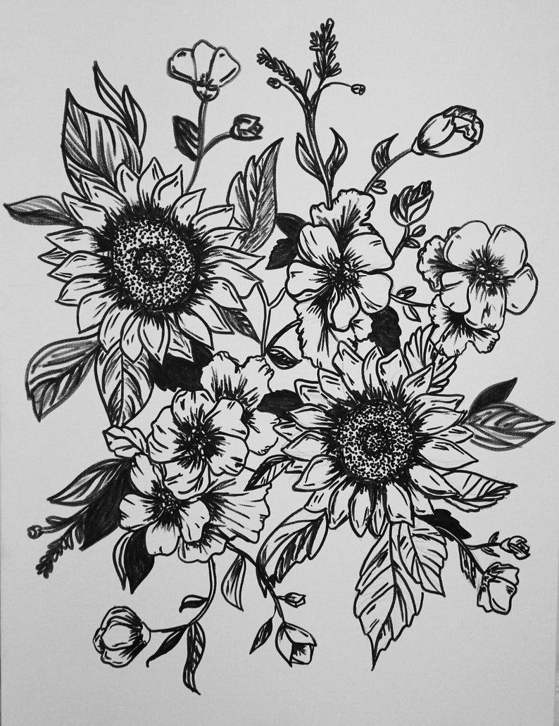 sun flower drawing sunflower drawing black and white at getdrawings free flower drawing sun